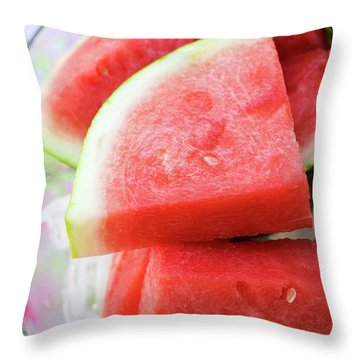 Pieces Of Watermelon On A Platter Throw Pillow