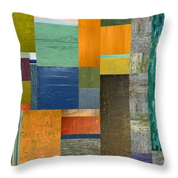 Pieces Parts V Throw Pillow by Michelle Calkins