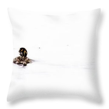 Pied-billed Grebe Babies Throw Pillow