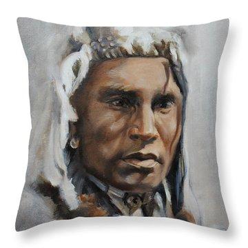 Piegan Warrior Portrait Throw Pillow