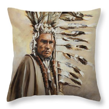 Piegan Warrior With Coup Stick Throw Pillow
