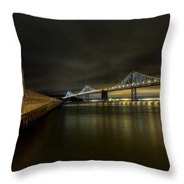 Pier 14 And Bay Bridge At Night Throw Pillow