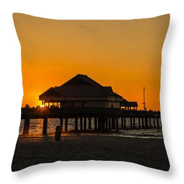 Pier 60 Sunset Throw Pillow by Jane Luxton