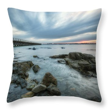 Pier At Dusk Throw Pillow by Eric Gendron
