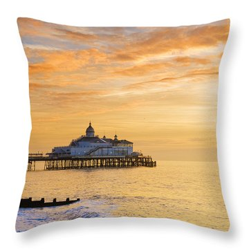 Pier At Sunrise Throw Pillow