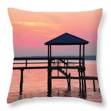 Pier In Pink Sunset Throw Pillow