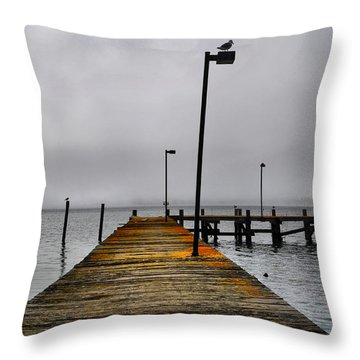 Pier Into The Fog Throw Pillow