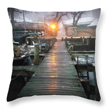 Pier Light - Watercolor Effect Throw Pillow by Brian Wallace