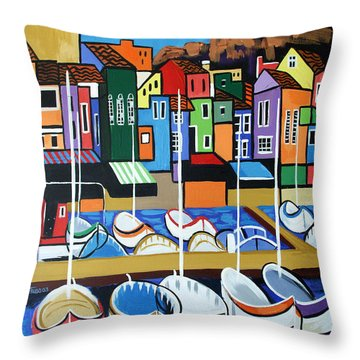 Throw Pillow featuring the painting Pier One by Anthony Falbo