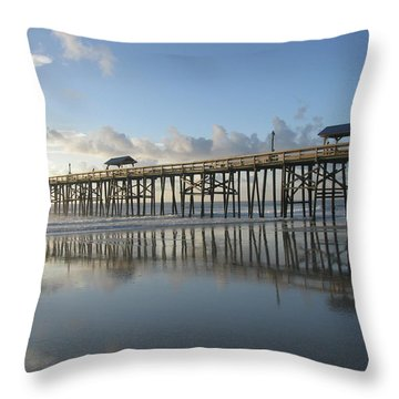 Pier Reflection Throw Pillow by Ellen Meakin