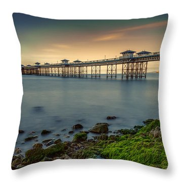 Pier Seascape Throw Pillow by Adrian Evans