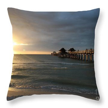 Pier Sunset Naples Throw Pillow