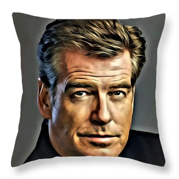 Pierce Brosnan Portrait Throw Pillow