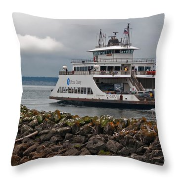 Pierce County Washington Ferry Throw Pillow