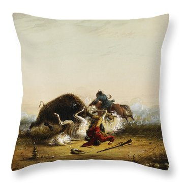 Pierre And The Buffalo Throw Pillow by Alfred Jacob Miller