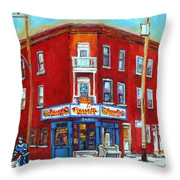 Pierrette Patates Restaurant - Paintings Of Verdun - Verdun Winter Scenes -verdun Hockey Scenes Throw Pillow by Carole Spandau