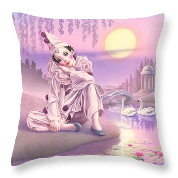 Pierrot & Swans Throw Pillow by Andrew Farley