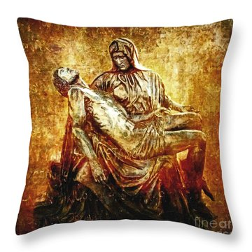 Pieta Via Dolorosa 13 Throw Pillow by Lianne Schneider