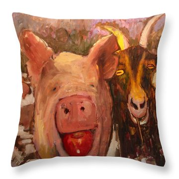 Pig And Goat Throw Pillow