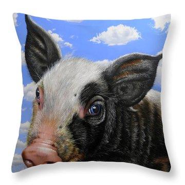 Pig In The Sky Throw Pillow by Jurek Zamoyski