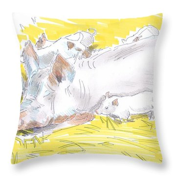 Pig Sow And Piglets Throw Pillow