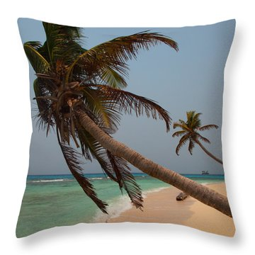 Pigeon Cays Palm Trees Throw Pillow