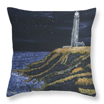 Pigeon Lighthouse Night Scumbling Complementary Colors Throw Pillow