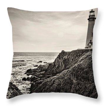 Pigeon Point Light Throw Pillow by Heather Applegate
