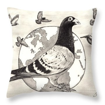 Pigeon Race Throw Pillow