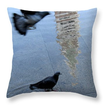 Pigeons In Piazza San Marco. Venice. Italy. Throw Pillow by Bernard Jaubert