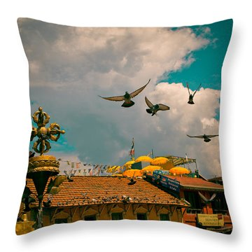 Pigeons Near Monastery In Boudnath Kathmandu Throw Pillow