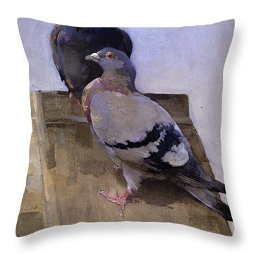 Pigeons On The Roof Throw Pillow by Joseph Crawhall