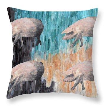 Piggies Throw Pillow by Patrick J Murphy