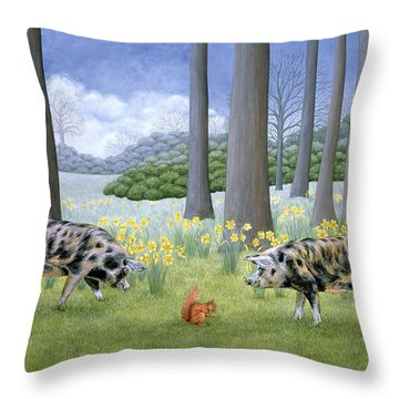 Piggy In The Middle Throw Pillow by Ditz