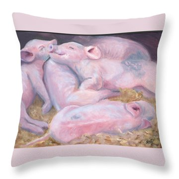 Piglets At Peace Throw Pillow by Deborah Butts