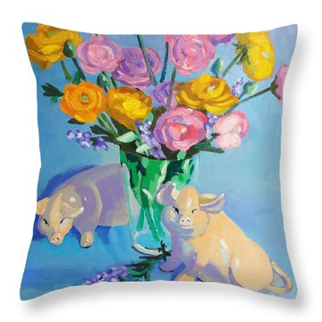 Throw Pillow featuring the painting Pigs At The Flower Market by Dan Redmon