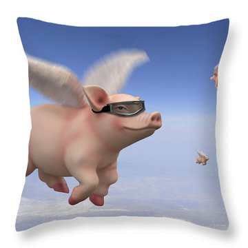 Pigs Fly 1 Throw Pillow