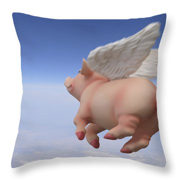 Pigs Fly 2 Throw Pillow