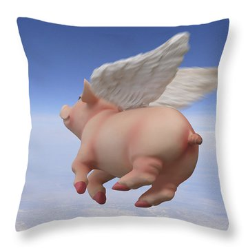 Pigs Fly 2 Throw Pillow by Mike McGlothlen