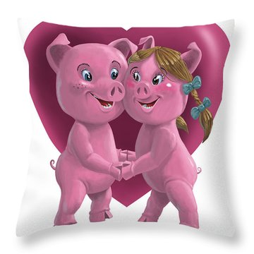 Pigs In Love Throw Pillow