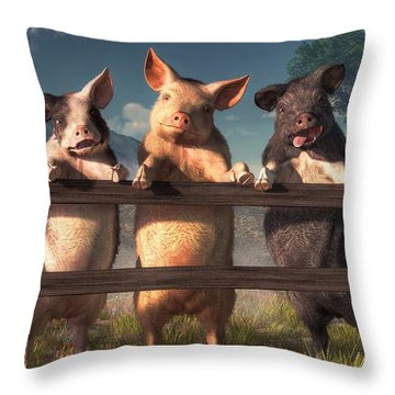 Pigs On A Fence Throw Pillow by Daniel Eskridge