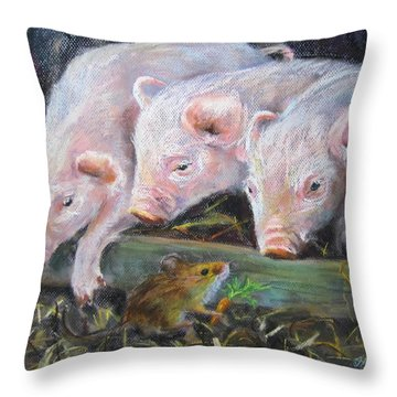 Pigs Vs Mouse Throw Pillow by Jieming Wang