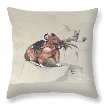 Pika Foraging Throw Pillow
