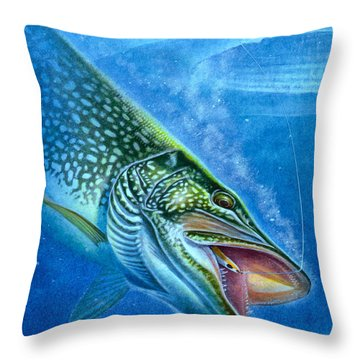 Pike And Ice Fishing Throw Pillow by Jon Q Wright
