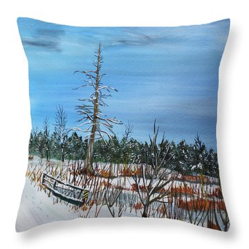 Throw Pillow featuring the painting Pike Branch Crossing by Jack G  Brauer