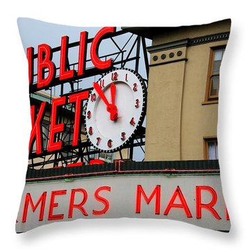 Pike Place Farmers Market Sign Throw Pillow