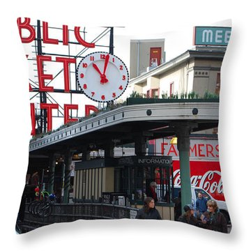 Pike Place Market Center Throw Pillow