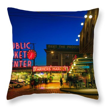 Pike Place Market Throw Pillow by Inge Johnsson