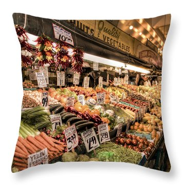 Pike Place Veggies Throw Pillow by Spencer McDonald