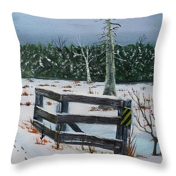 Throw Pillow featuring the painting Pike River Crossing by Jack G  Brauer
